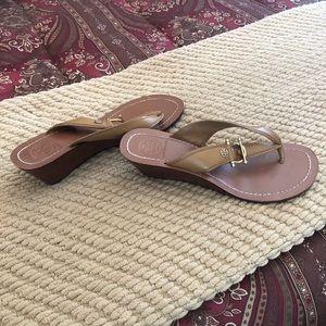 Tory Burch Tan Wedge Sandals